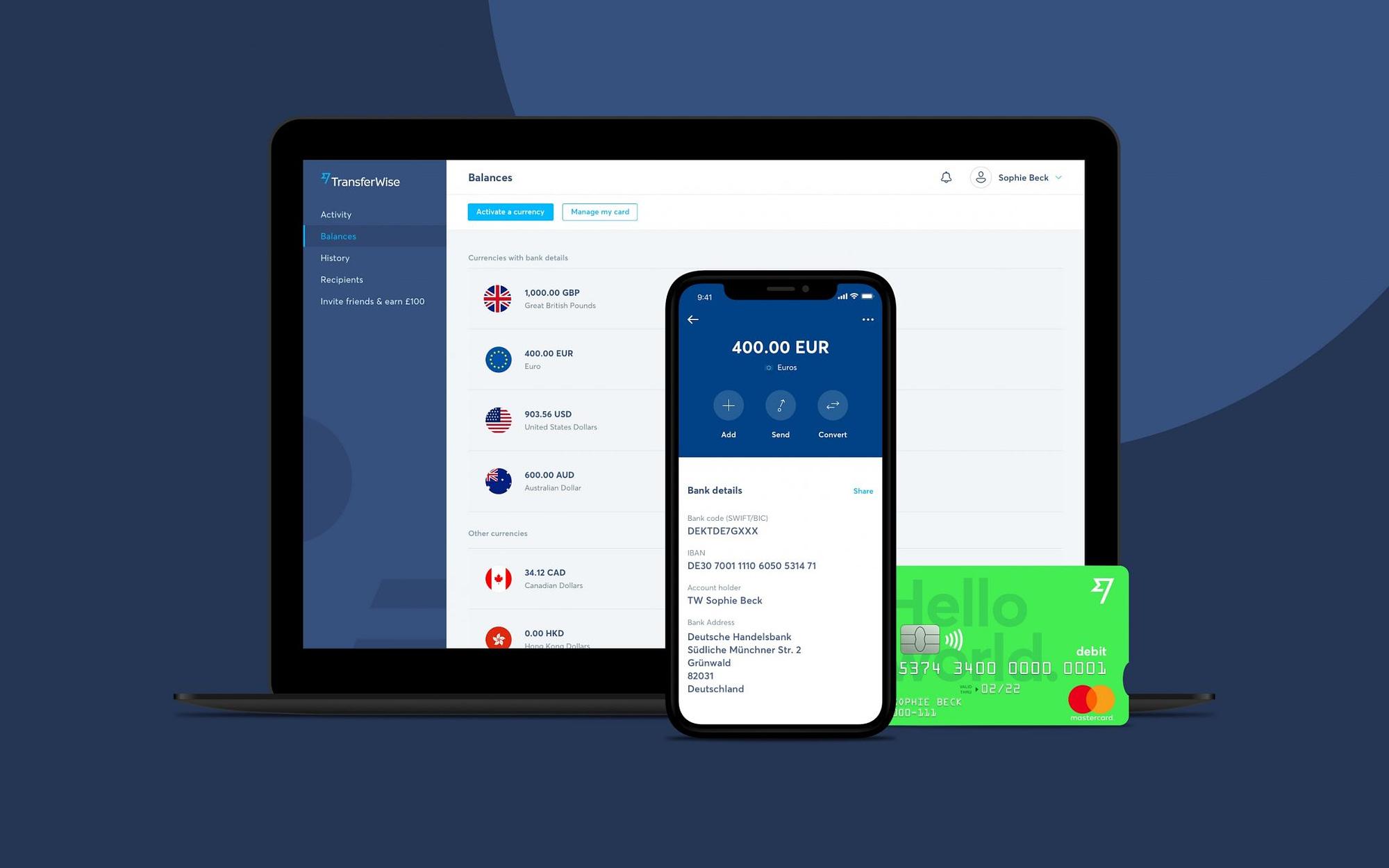 TransferWise solution de gestion de compte mutli devises