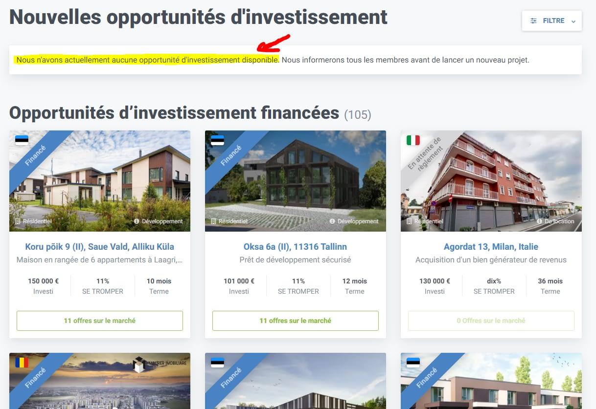 Crowdestate projets d'investissements
