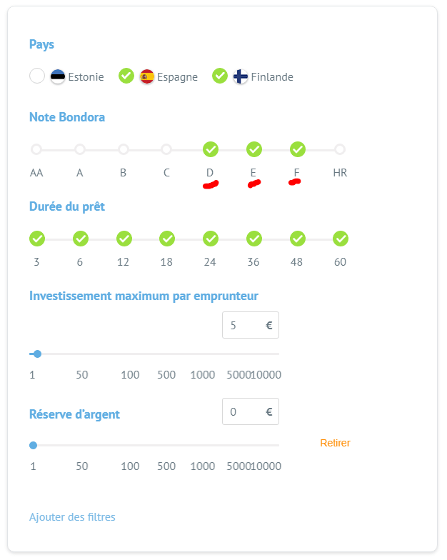 BONDRA portfolio pro paramètres